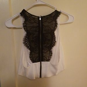 White crop top with black lace back